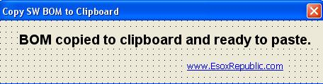 BOM to Clipboard message window